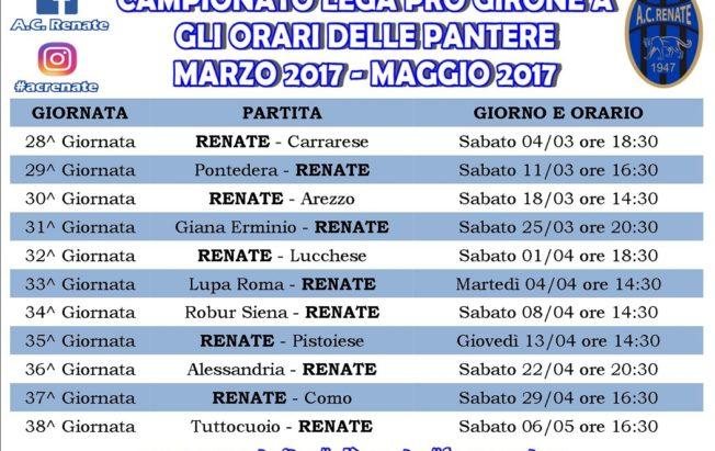 impegni campionato MARZO 2017 - MAGGIO 2017